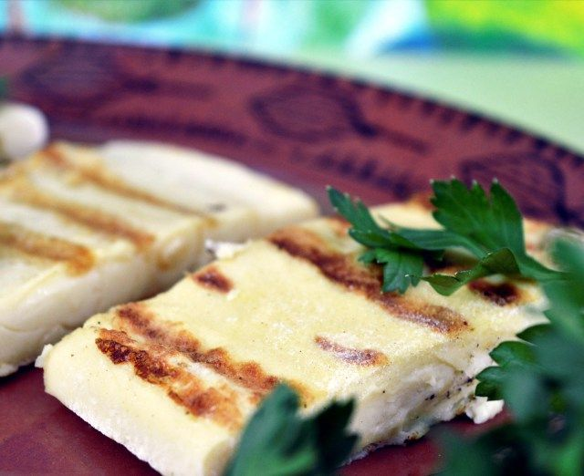 Poppy developed a low fat vegan Halloumi cheese that melts!  via @bunnykitchen