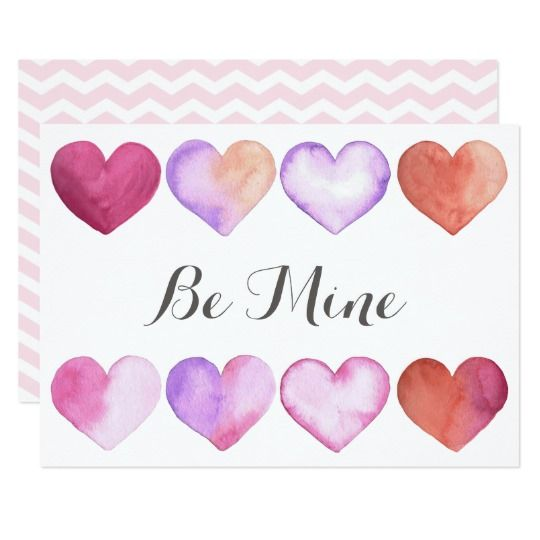 Be Mine - Watercolor Valentine's Day Card