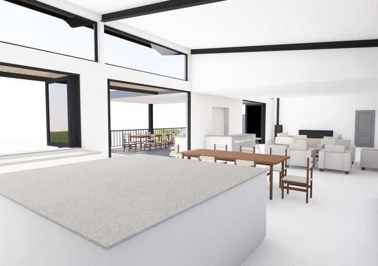 View from kitchen of open plan living space
