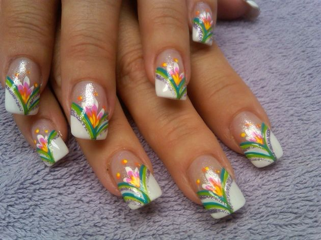 White French Nail Designs   sues french hawaii - Nail Art Gallery
