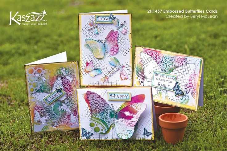 2H1457 Embossed Butterflies Cards