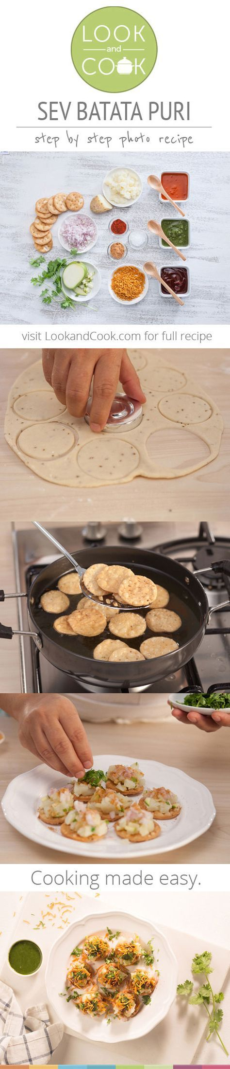 SEV BATATA PURI RECIPE Sev Batata Puri(#LC14023):A popular street side Indian fast-food snack, this spicy-yet- sweet treat is synonymous with Bombay's Girgaum Chowpatty.