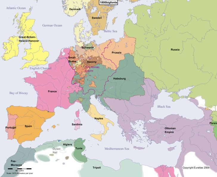 Europe Main Map at the Beginning of the Year 1800