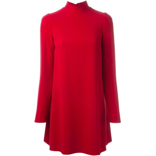 Dolce & Gabbana longsleeved flared dress (1,786 CAD) ❤ liked on Polyvore featuring dresses, red, longsleeve dress, short dresses, red flared dress, short red dress and long sleeve flare dress