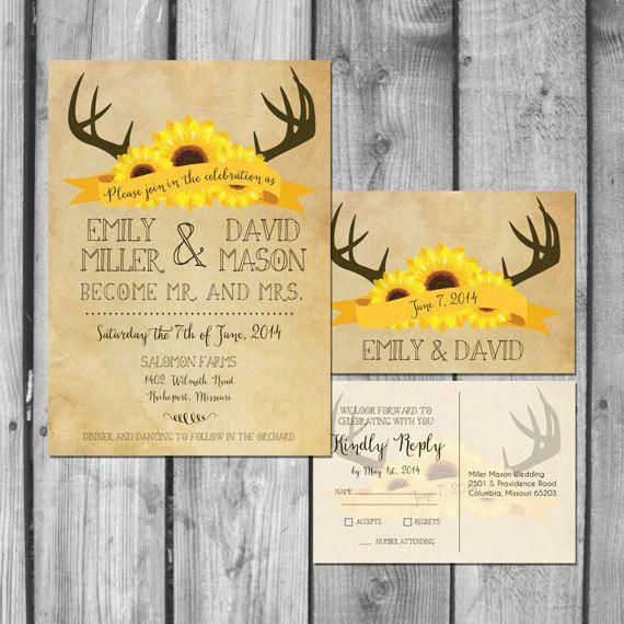 Deer Antlers and Sunflowers Wedding by ChristinaElizabethD on Etsy
