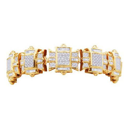 http://rubies.work/0931-emerald-pendant/ 14k Yellow Gold 15.30Ctw Diamond Mens Bracelet