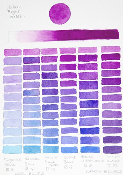 Holbein Bright Violet Chart (Blues) Watercolor Tips Pinterest