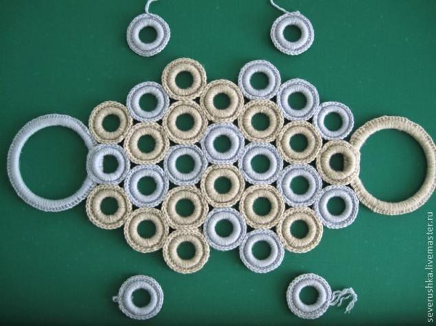 Для начинающих вязать крючком,хочу представиь мастер-класс по изготовлению сумочки из колец для штор. Взять пряжу очень толстую,примерно 150 метров в 100гр,крючок №4, 32 кольца для штор(продаются в строителных магазинах или использовать старые) и пяльца для ручек. Обвязать кольца пряжей разного цвета столбиками без накида . Ручки также обвязать столбиками без накида пряжей разного цвета.