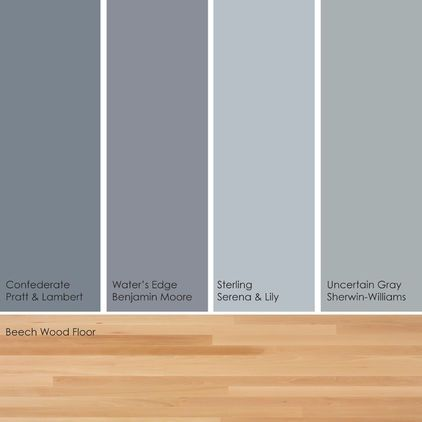 Cool colors w light floor paint picks. Warm up these cool hues by pairing them with a light wood floor, such as beech. From left to right: Confederate 27-21, from Pratt & Lambert; Water's Edge 1635, from Benjamin Moore; Sterling, from Serena & Lily; and Uncertain Gray SW6234, from Sherwin-Williams.