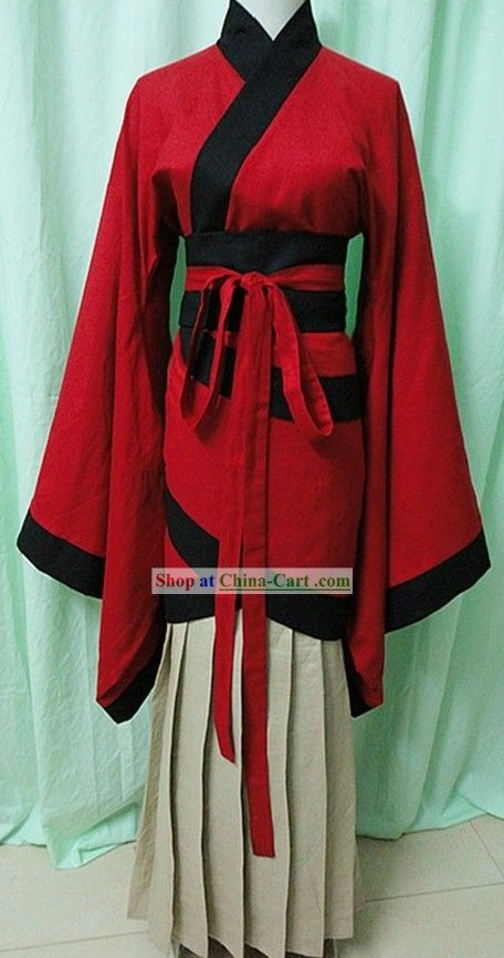 """Traditional Chinese Red Hanfu/ Japanese Nara Period outfit for women"" Although I'd want a different under-skirt."