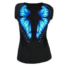 T-shirt zwart met blauwe vlinder vleugels print
