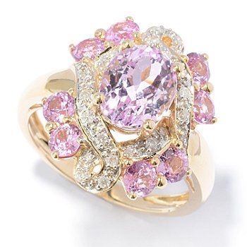 Gem Treasures 14K Gold 4.22ctw Kunzite, Sapphire & Diamond Oval Ring Natural colors...what beauty our Lord offers us from the earth!