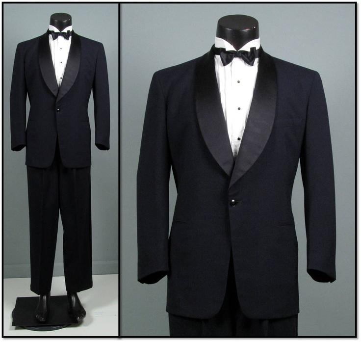 Vintage Tuxedo Mens 1950s  Grooms = teal bow tie  Groomsmen = cranberry bow tie