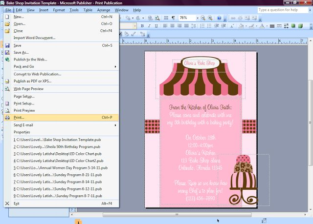 Eccentric Designs by: Latisha Horton: How to Make Invitations in Microsoft Publisher [ Tutorial ]