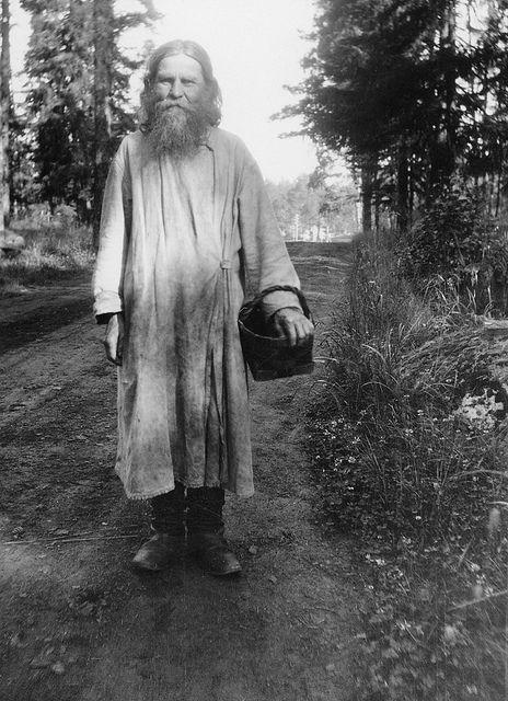Russian Orthodox monk with a birchbark basket, Valaam monastery, Valamo, Karelia, Russia, c.1930