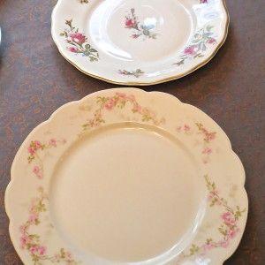 Vintage mismatched dinner plates for rent