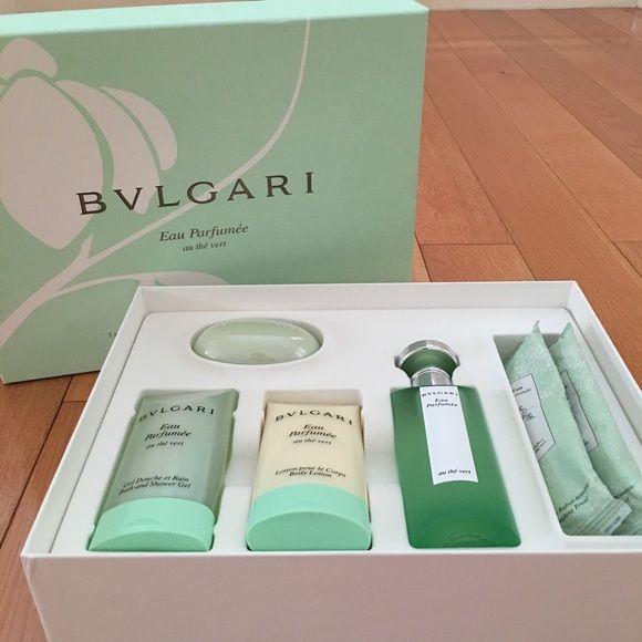Brand new Bvlgari perfume gift set Brand new Bvlgari 6 piece gift set. Set includes 2.5oz perfume/cologne spray, 2.5 oz shower gel, 2.5 oz body lotion, 2.6 oz soap bar, and 2 refreshing towels. Bvlgari Other