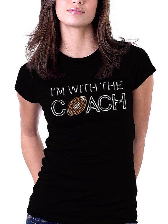 I'm With the Coach Football Rhinestone Shirt by RascoPrints, $18.99