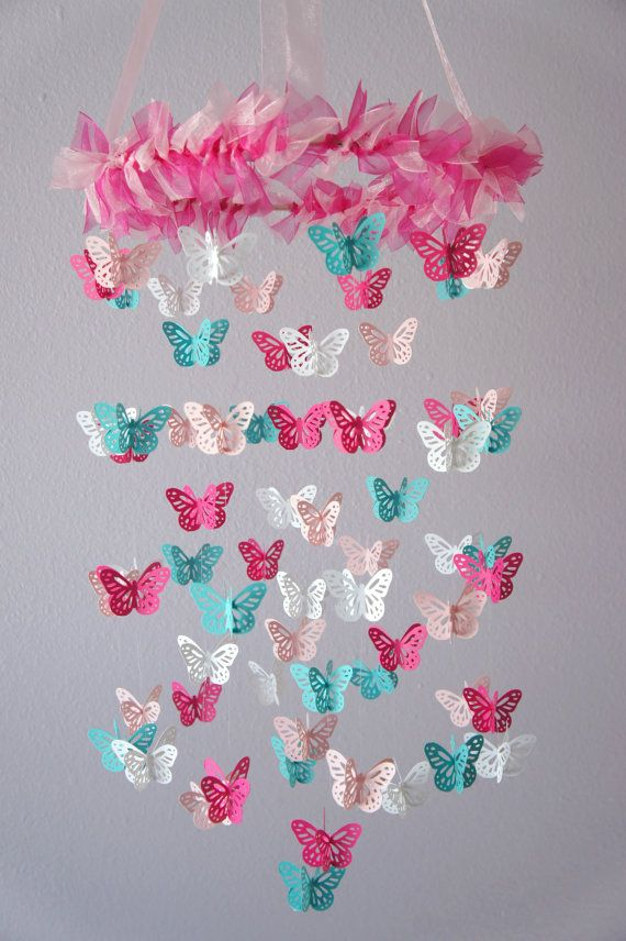 Farfalla vivaio Mobile farfalla rosa & Aqua di LovebugLullabies