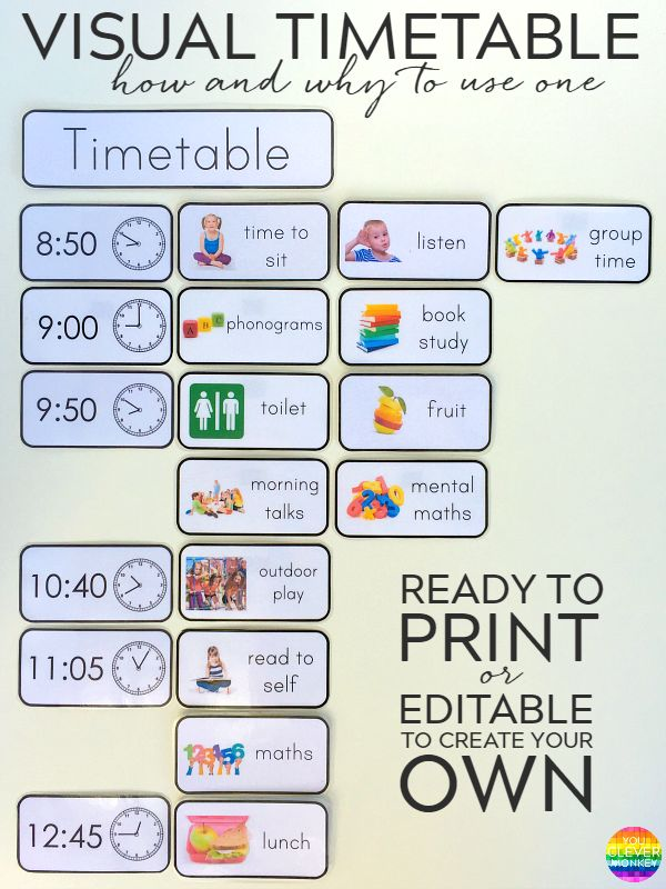 Printable Editable Visual Timetable Cards - one of the most effective tools in any early years classroom. Ready to print timetable cards or editable to add your own font/text | you clever monkey