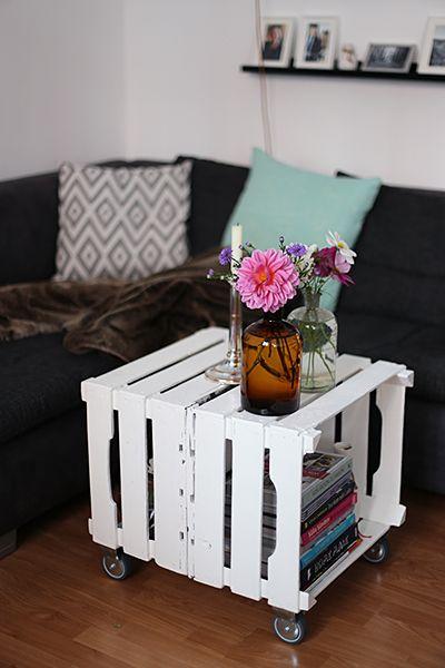 DIY: Tischchen aus Obstkisten ähnliche Projekte und Ideen wie im Bild vorgestellt findest du auch in unserem Magazin