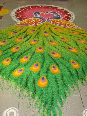 peacock rangoli designs 5