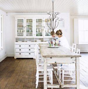 White decor - www.myLusciousLife.com - White kitchen dining area.jpg  White hutch, farm house, table hardwood floors. white paint, white walls