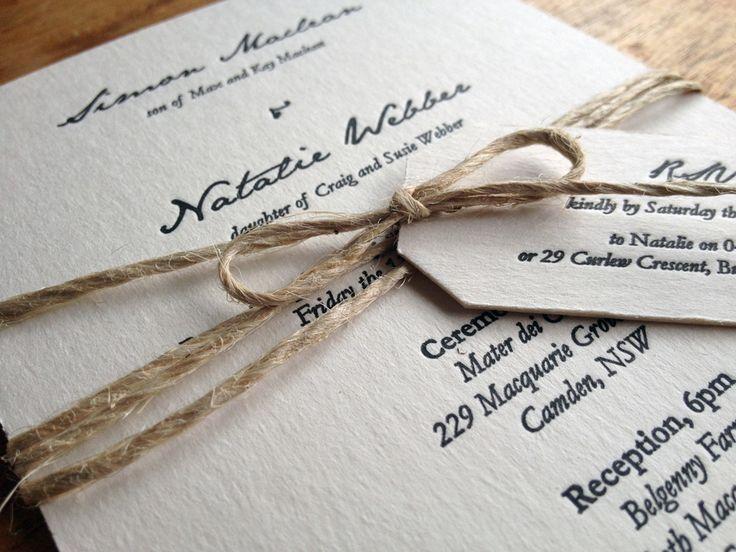 Natalie + Simon Invitation Suite  Birds of a Feather - A Letterpress Co. [www.birdsofafeatherco.com.au]