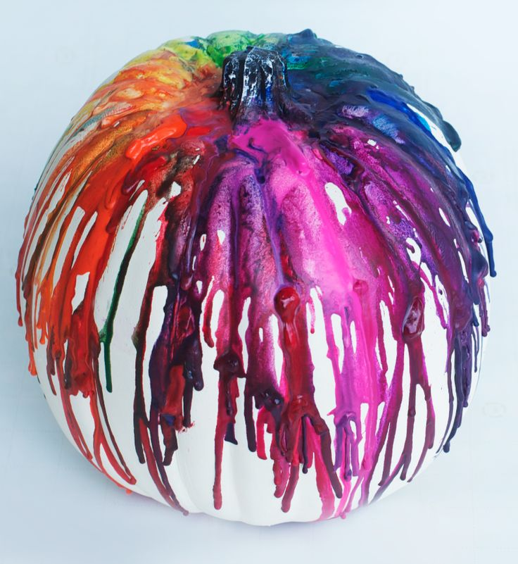 Drip crayon pumpkin - this technique could be used on all sorts of things..