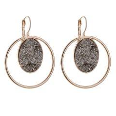 Rose gold grey druzy stone hoop earring