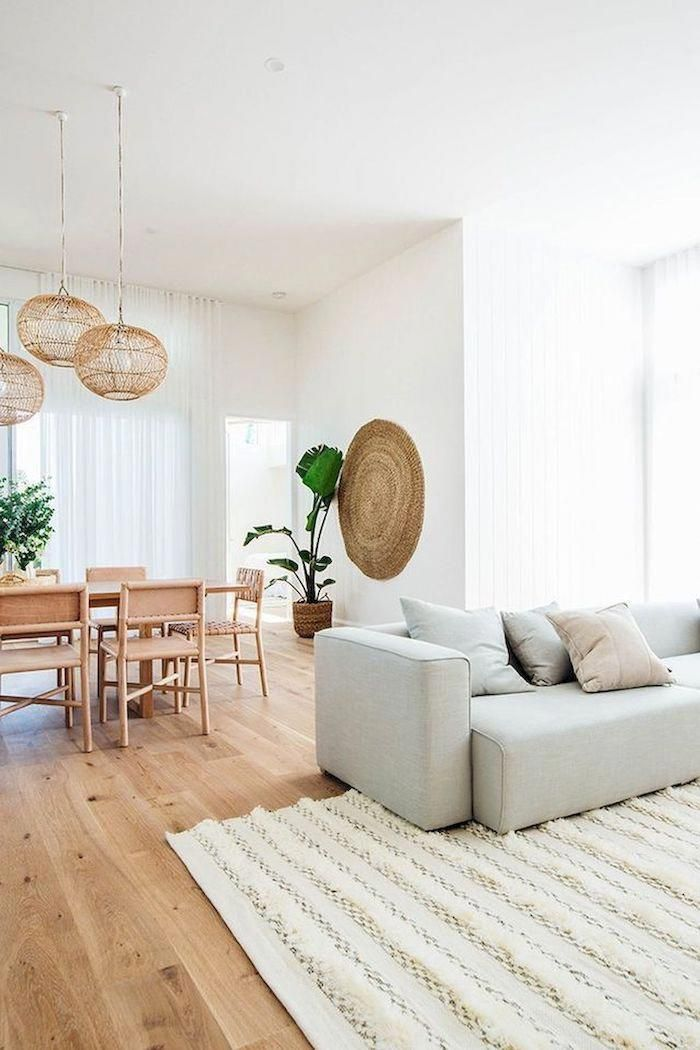 White Walls Wooden Floor With White Carpet Light Grey Sofa With Light Grey And Beige Cushio Wooden Floors Living Room Living Room Carpet Living Room Flooring #white #living #room #floor