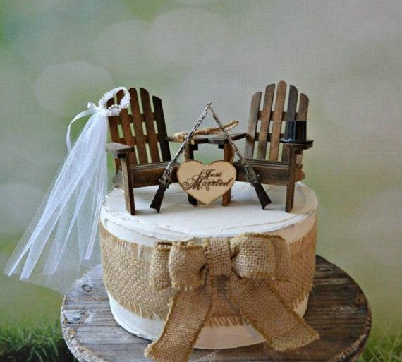 Gun wedding chairs lake camping hunting themed wedding cake topper deer hunter shot gun riffle bride groom camouflage themed gun cake topper