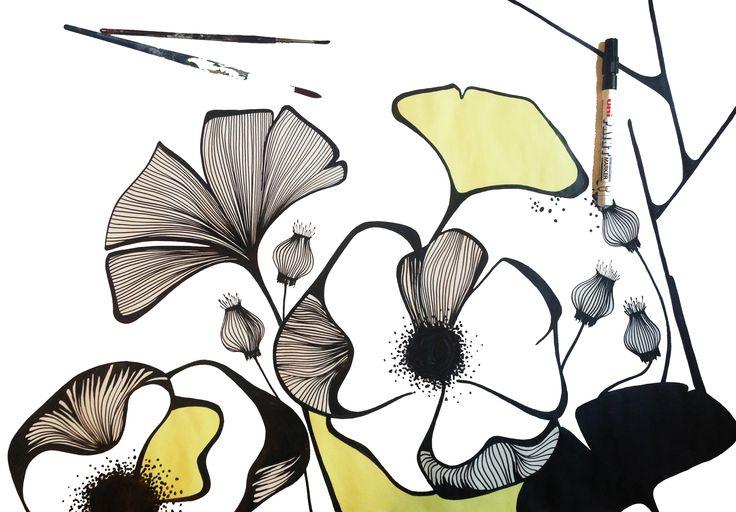 Flowers&Gingo leaves illustration