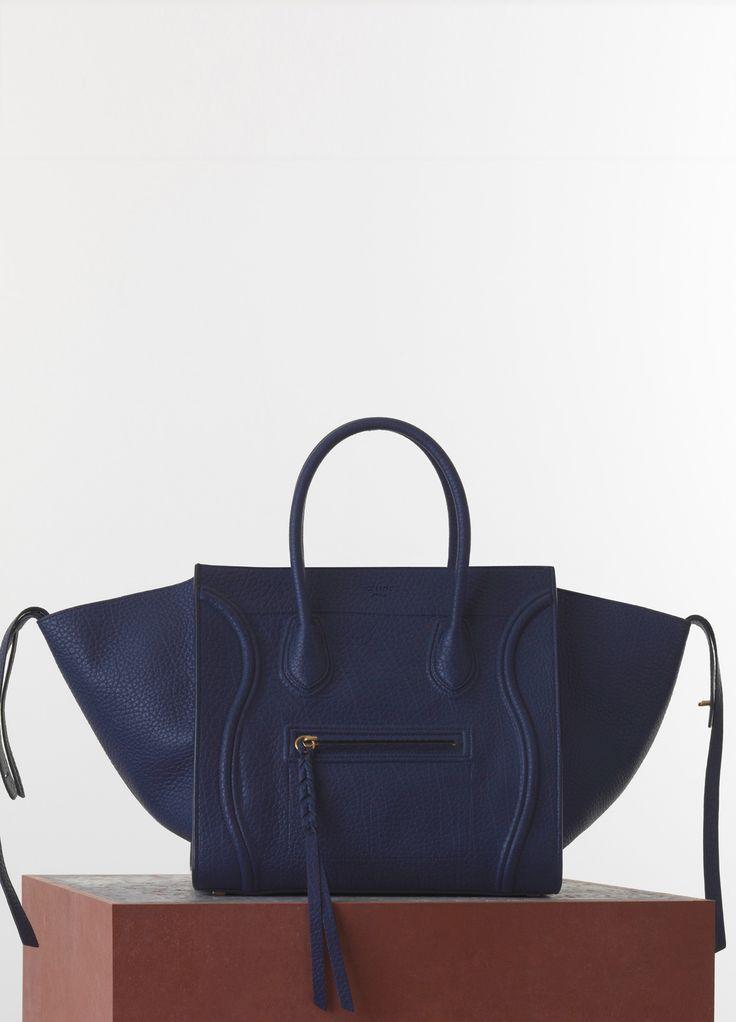 Céline - Celine Bag - Its so fluffy I want to die!!! Medium Luggage Phantom Handbag in Navy Blue Bullhide Calfskin