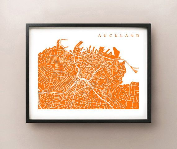 Auckland, New Zealand Map Art Print by CartoCreative