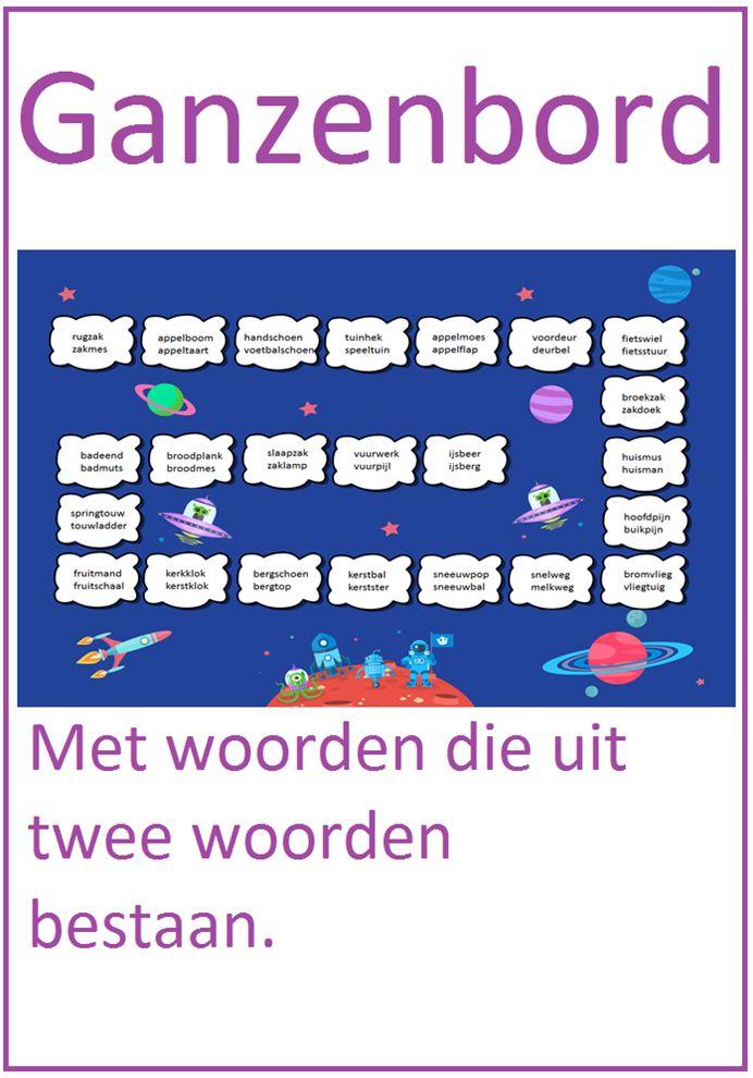 Ganzenbord met woorden die uit twee woorden bestaan. Leuk te gebruiken bij tehma 7 van Lijn 3.