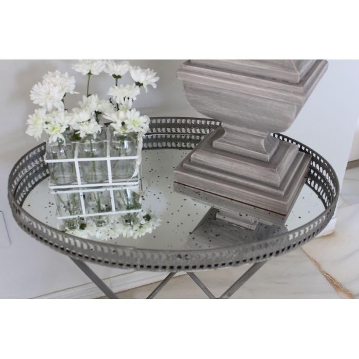 Mesa ovalada de metal en color gris - Muebles - Decoración - Mon Deco Shop