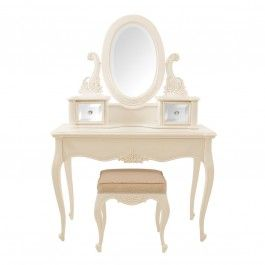 Louis Padded Parisienne Cream Dressing Table.First time I've seen mirrored drawers.This set is £415