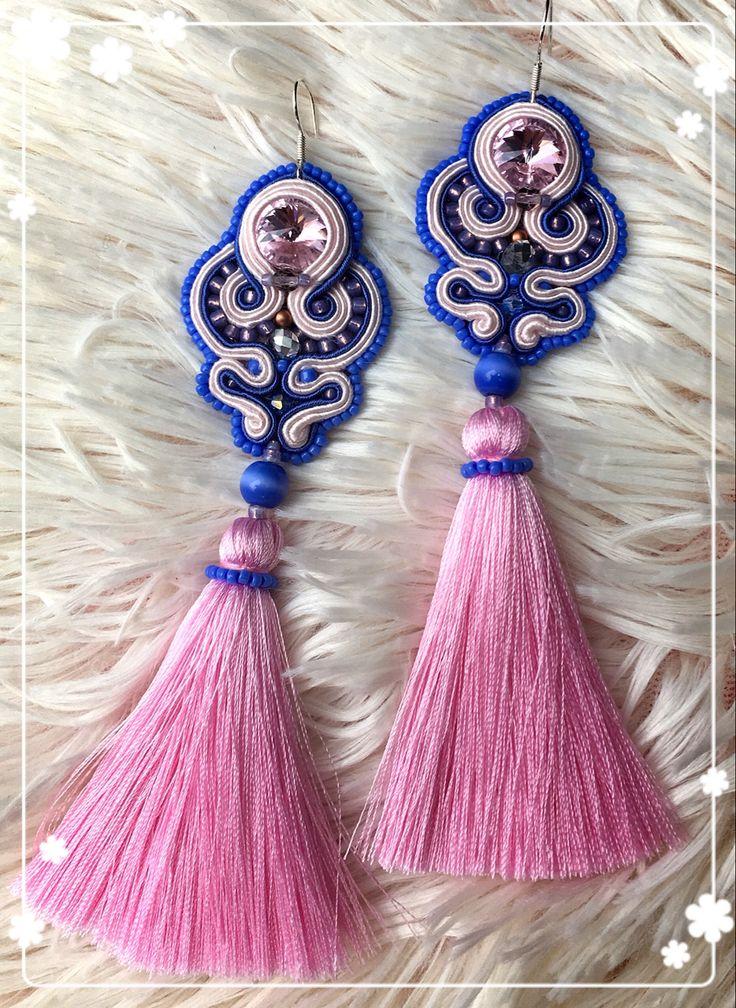 Soutache earrings rękodzieło pink & blue