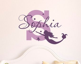 Mermaid Wall Decal Girl Name Decals Vinyl By FabWallDecals On Etsy Part 72