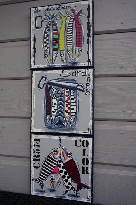 Tableau sardines peinture colorée moderne personnalisable: