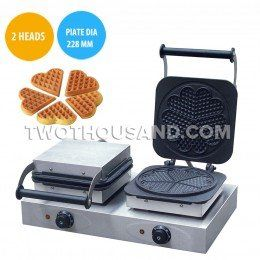 #Commercial #Waffle #Maker - 2 Heads, Electric, With Timer, Plate Diameter: