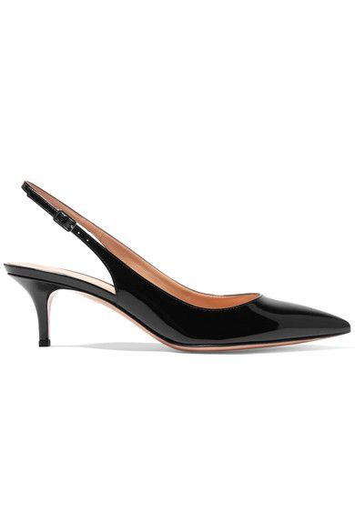 Heel measures approximately 60mm/ 2.5 inches Black patent-leather Buckle-fastening slingback strap Made in Italy