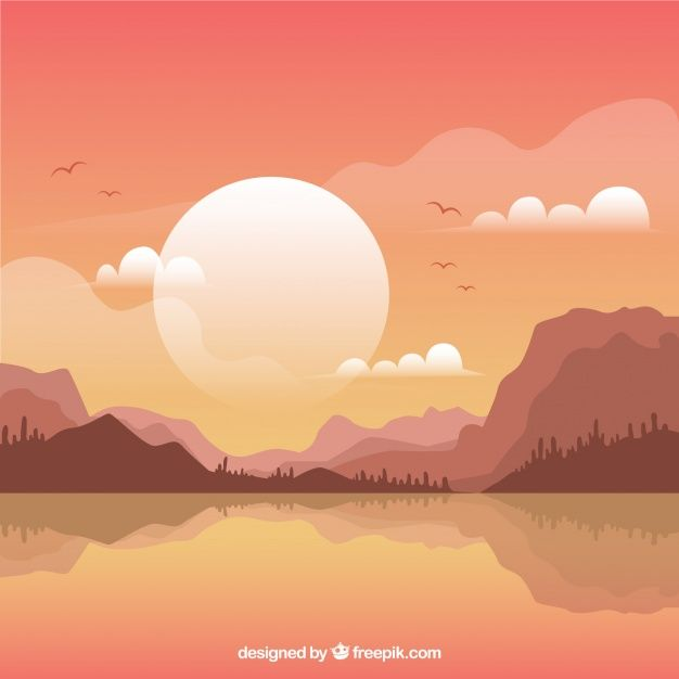 Mountainous landscape background at sunset Free Vector