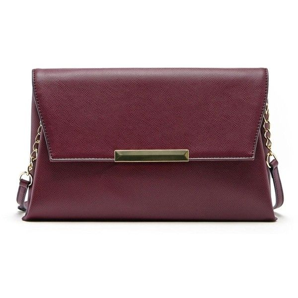 Sole Society Vaughn Textured Envelope Clutch (350 HKD) ❤ liked on Polyvore featuring bags, handbags, clutches, oxblood, fold over purse, chain purse, vegan leather handbags, fold over handbag and faux leather handbags