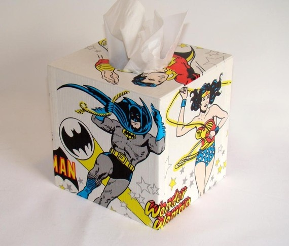 DC Comics Super Friends 1970u0027s Vintage Wallpaper Tissue Box Cover