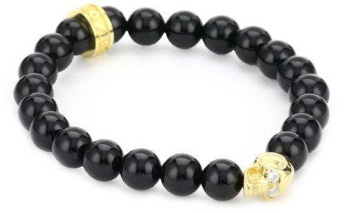 Queen Baby 8mm Polished Onyx Bead Bracelet with 18K Vermiel Skull Bead with Cubic-Zirconia Eyes Queen Baby. $280.00. Made in USA. Handmade in the USA. 8mm polished black onyx beads w vermeil (solid sterling silver plated in 18k gold) skull w CZ