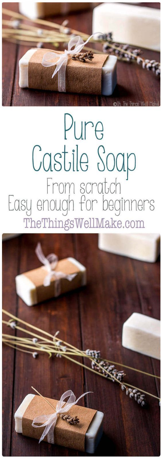 Made using only olive oil, pure Castile soap is a mild, conditioning soap that is gentle enough to use on face and body. #CastileSoap #soap #easy #SoapRecipe