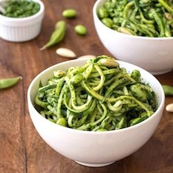 Zoodles (zucchini noodles) with kale pesto and edamame