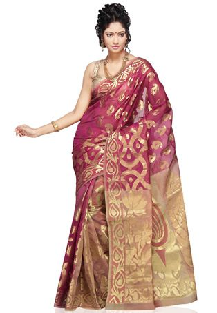 Magenta and Old Rose Art Silk Saree with Blouse